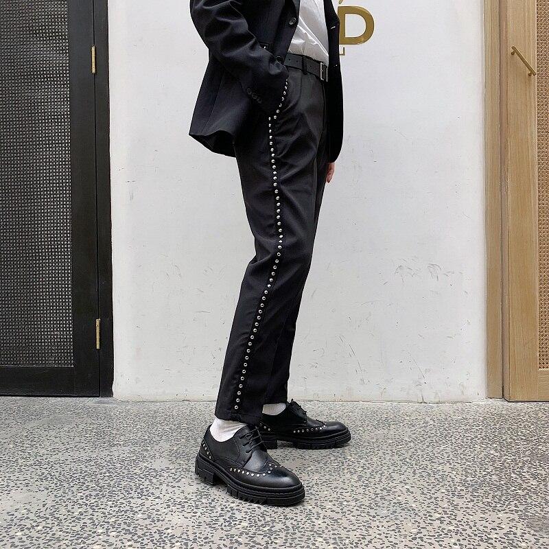 Men Rivet Fashion Casual Slim Fit Suit Pant Fashion Show Trousers Male Streetwear Vintage Punk Hip Hop Style Clothes