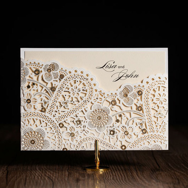 Aliexpress buy 100pcslot laser cut wedding invitations 100pcslot laser cut wedding invitations elegant white birthday invitations cards with envelopes and seals filmwisefo