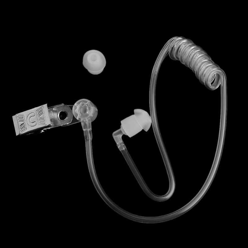 Reemplazo de bobina transparente tubo de aire acústico auricular con Clip de Metal para Radio de dos vías auricular walkie-talkie auriculares