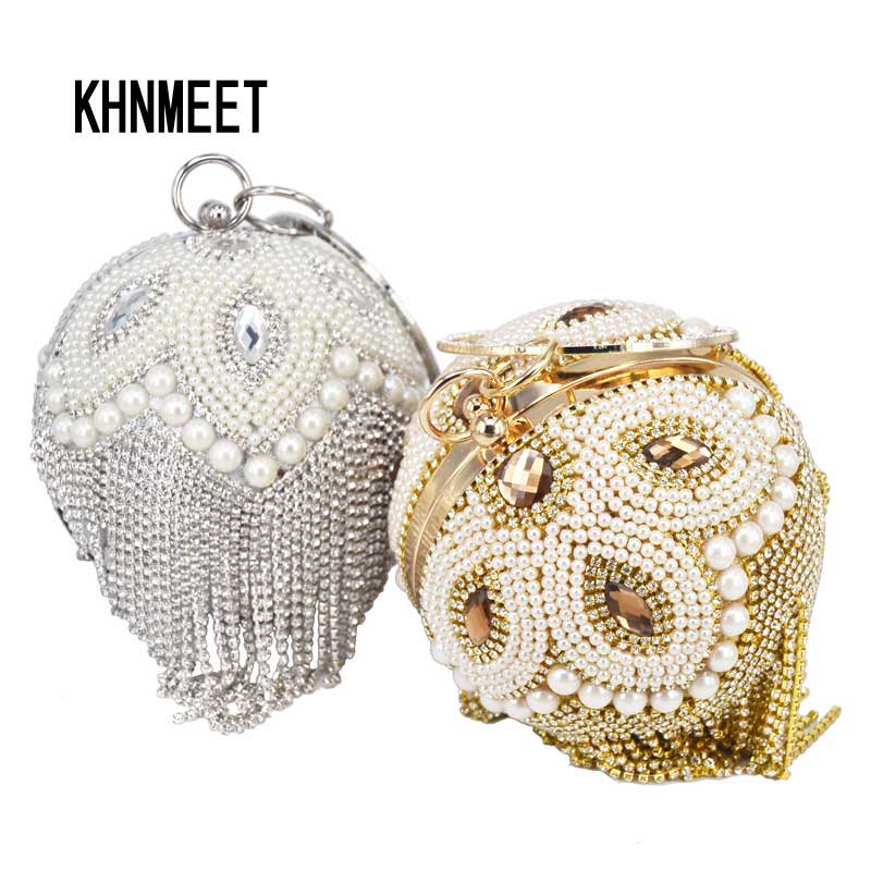 Gold Silver Ball Shape Beaded Pearl Evening Bag Crystal Tassels Party Clutch Bag Circular Ring Wristlets Bags Day Clutches 3041K