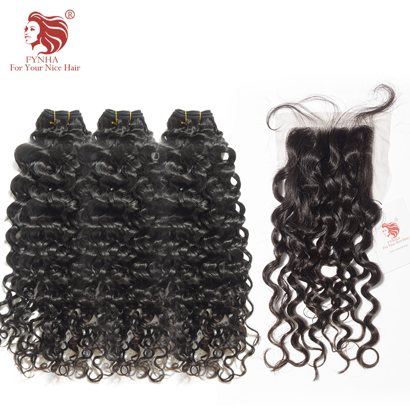 [FYNHA] Bouncy Curly Weave Brazilian Remy Hair 3 Bundles With Closure Human Hair Extensions Natural Black For Your Nice Hair