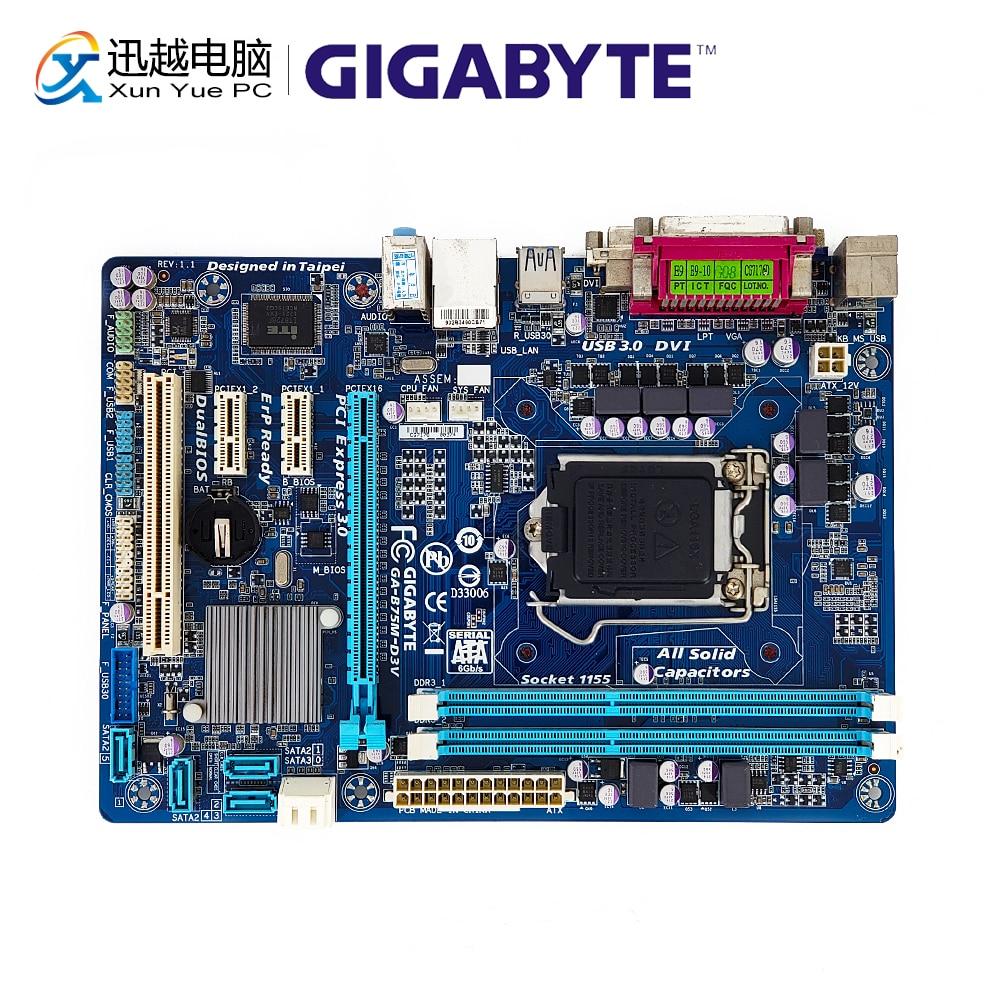 Gigabyte GA-B75M-D3V Desktop Motherboard B75M-D3V B75 LGA 1155 I7 I5 I3 E3 DDR3 16G SATA3 USB3.0 DVI VGA Micro-ATX
