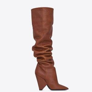 Image 5 - BuonoScarpe להחליק על הברך גבוהה מגפי 2019 קונוס עקבים קפלים אופנה נשים מגפיים גבוהה עקבים גבירותיי מותג עיצוב נעלי אביר נעל