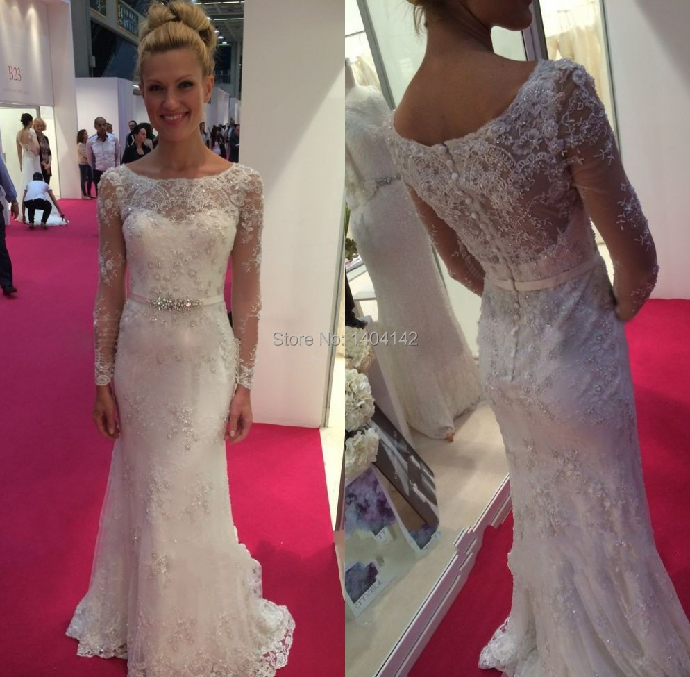 15 Fashion Boat Neck Long Sleeve Lace Beaded Wedding Dresses Sheath