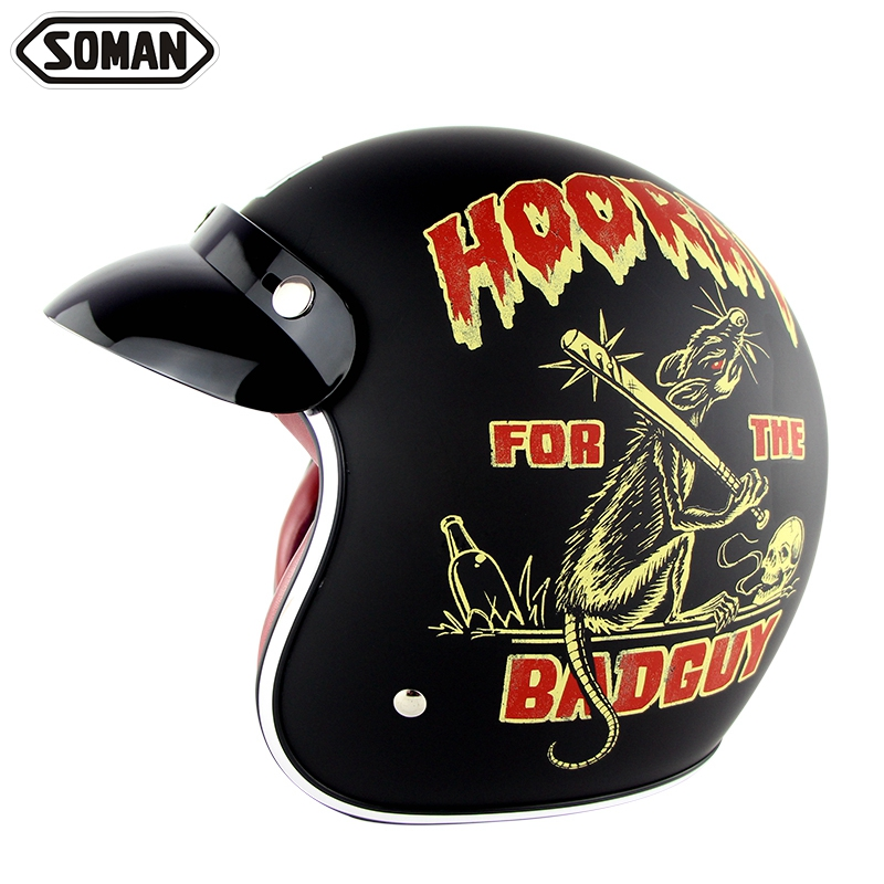 Motorcycle Helmet Harley Retro Helmets Chopper Vintage Open Face Motocicleta Moto Cacapete Old School Casco Casque DOT SM512 цена