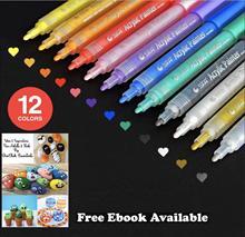 Rotuladores de pintura acrílica Juego de 12 colores vibrantes, rotuladores de arte permanentes de punto medio para pintura de ventana,