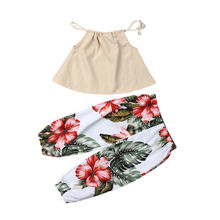 Toddler Baby Kids Girls Clothes Sleeveless Halter Crop Top+Flower Leaf Print Pant Sunsuit Outfits Set
