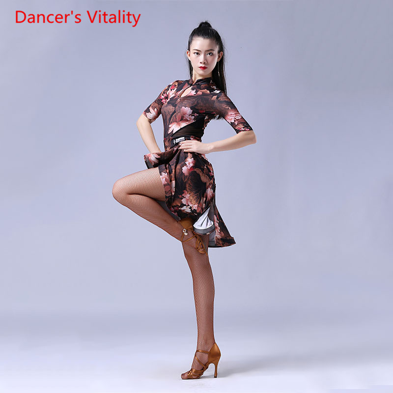 2018 performance dynastie danse danse Latina une pièce robe femme adulte danse Latin jupe sexy imprimer culotte demi-manche