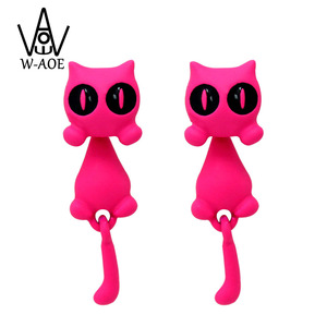 2018 New Design Cute Cat Earrings for Women Girl Fashion Jewelry Lovely Kitty 3D Animal Stud Earring Brinco Jewellry Party Gift