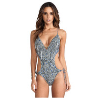 Sexy Print Leaf Swimwear Women One Piece Swimsuit 2017 1 Thong Bathing Suit Swim Wear Beach
