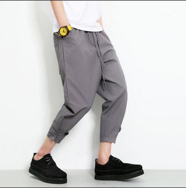 ГОРЯЧАЯ! мужчины Летний новый повседневная мода шаровары свободные лодыжки длина брюки репа брюки дамские костюмы плюс размер брюки