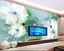 Купить с кэшбэком beibehang Custom Wallpaper Living Room Bedroom 3d Wallpaper White transparent flower  circle TV Background Wall 3d wallpaper