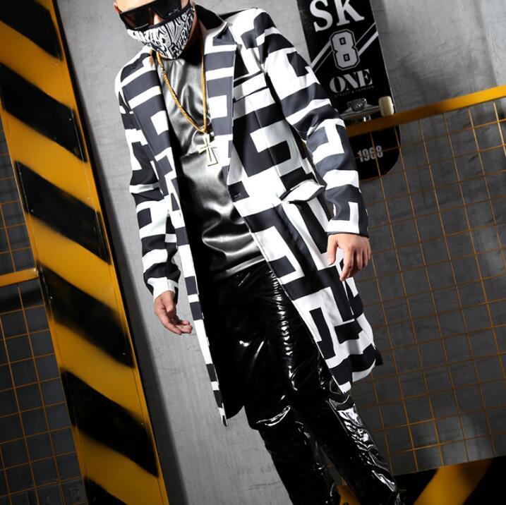 Blazer Costumes Suit And Chanteur Pants Géométriques Motifs Mode Costume Hommes costume Blazers Nuit Blanc Pantalon Nouveau Noir De Dj faHISv
