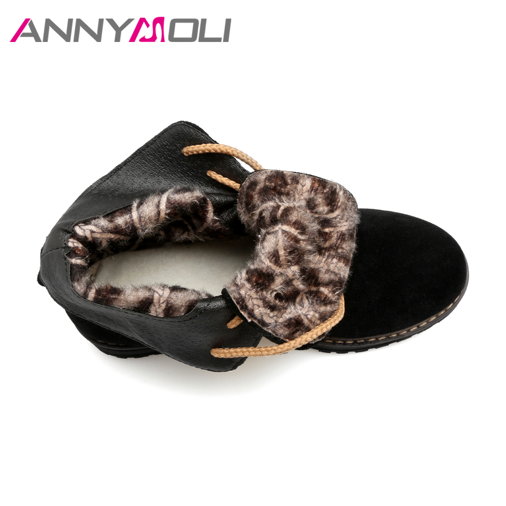 ANNYMOLI Women Ankle Boots Platform Winter Spring Shoes Sewing Lace Up Boots Flat Round Toe Women Martin Boots Big Size 43 Black
