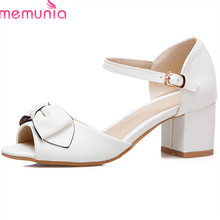 MEMUNIA 2018 new style women sandals big size 33-43 square heel shoes peep toe elegant party wedding sheos classic ladies shoes