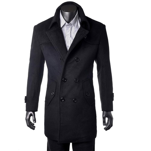 Custom Made Black Trench Coat Men Double Breasted Winter Overcoat Men Long Coat Cashmere