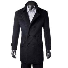 Nach Maß Schwarz Graben Mantel Männer, Zweireiher Winter Mantel Männer Lange Mantel, kaschmir Wolle Mantel Winter Mäntel Für Männer Jacke