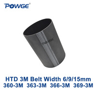 POWGE HTD 3M مؤقت اشتعال C = 360 363 366 369 عرض 6/9/15 مللي متر الأسنان 120 121 122 123 HTD3M متزامن 360 3M 363 3M 366 3M 369 3M-في أحزمة النقل من تجميل المنزل على