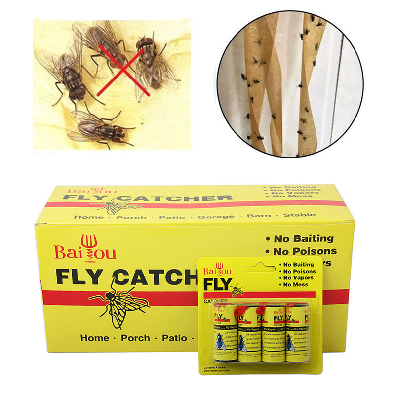 4/8/12Pcs Fly Sticky Paper Strip Strong Glue Flying Insect Bug Mosquitos Catcher Roll Tape E2S