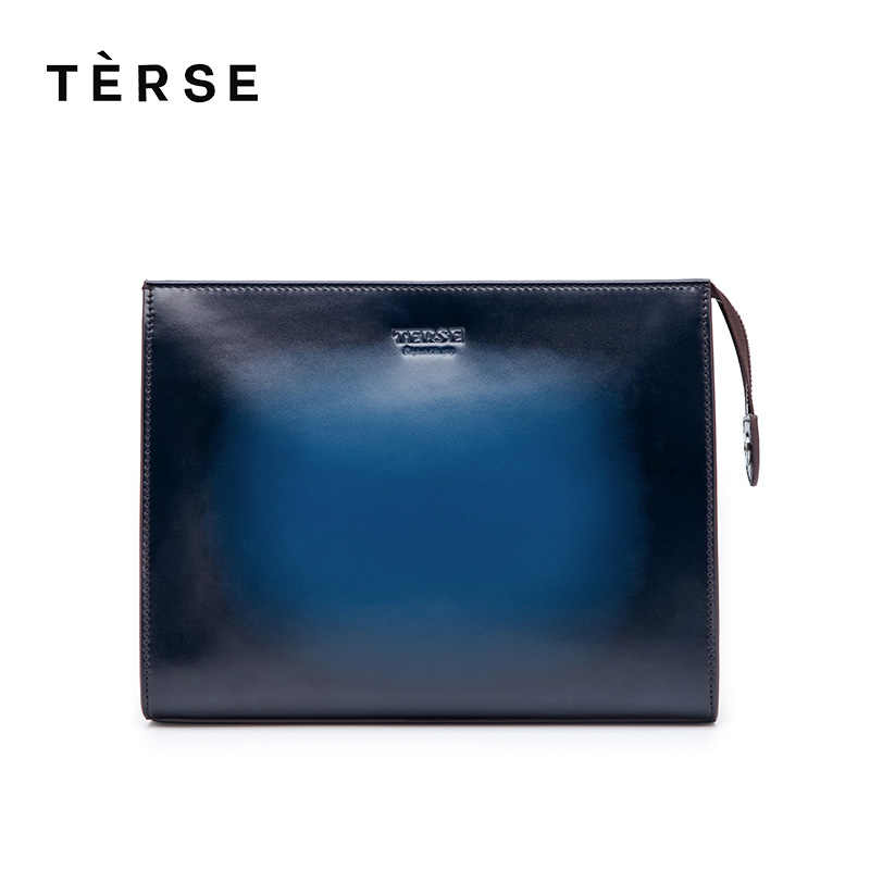 TERSE 2018 New Wallet Large Capacity Clutches For Men Genuine Leather Customized Logo Hand Bag Zipper Bag 4 Colors 9601 Hot