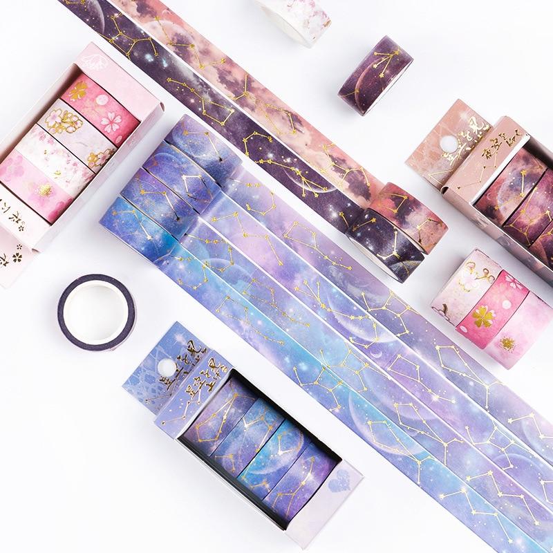 4 Pcs / Set Washi Tape Starry Sky Masking Tape Vintage Washitape Kawaii Washi Cartoon Cinta Adhesiva Decorativa