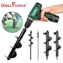 Drillforce, sembradora de jardín, broca en espiral, bulbo de flor, eje hexagonal, barrena, jardín, cama, plantación, herramientas para excavación de poste