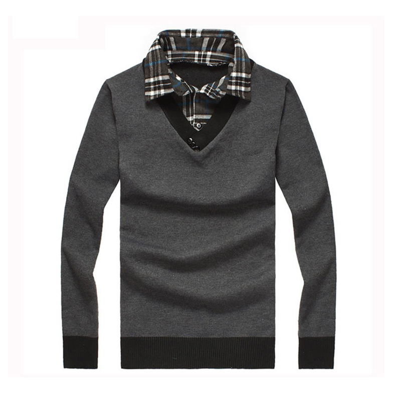 Plus Size Fashion Pullover Men Winter Turn Down Collar Casual Clothes Pattern Knitwear Men's Cotton Sweater MZ104