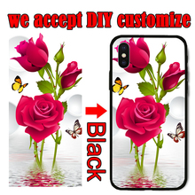 Custom Phone Case For iPhone X XS XR Max 8 7 6 5 6S Plus Black red  Silicone Coque Clear protection Back Cover DIY Customized