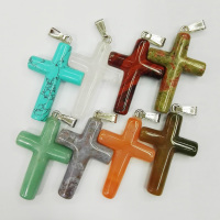 Wholesale fashion natural mixed cross stone pendants Charms fit Necklaces jewelry making 8pcs/lot