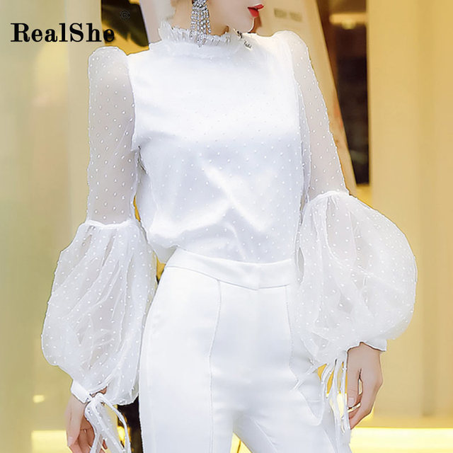 RealShe Hot Summer Ladies Elegant Shirts And Blouses Women Long Sleeve Dots Mesh Tops And Blouses Casual White Shirt Blousa
