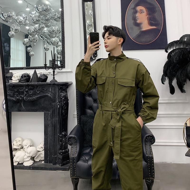 남성 빈티지 패션 streetwear 힙합 캐주얼화물 바지 남성 긴 소매 오버올 점프 슈트 하렘 바지 커플 의류-에서전체부터 남성 의류 의  그룹 1