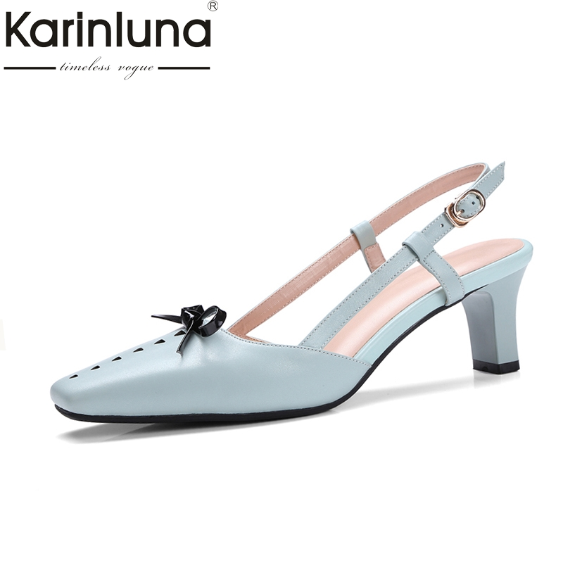 KarinLuna Size 34-39 Women Bow Tie Ankle Strap Chunky High Heel Party Wedding Shoes Sexy Square Toe Less Platform Pumps цена