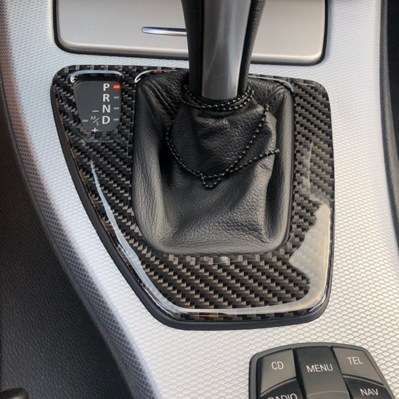 For bmw e90 e92 e93 Interior Trim Carbon Fiber Gear Shift Control Panel Cover Sticker LHD Car styling 3 series accessories-in Car Stickers from Automobiles & Motorcycles