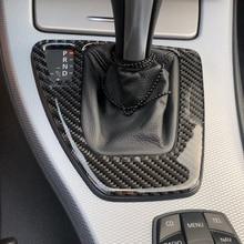 עבור bmw e90 e92 e93 לקצץ פנים סיבי פחמן מוט הילוכים בקרת פנל כיסוי מדבקת LHD רכב סטיילינג 3 סדרה אבזרים