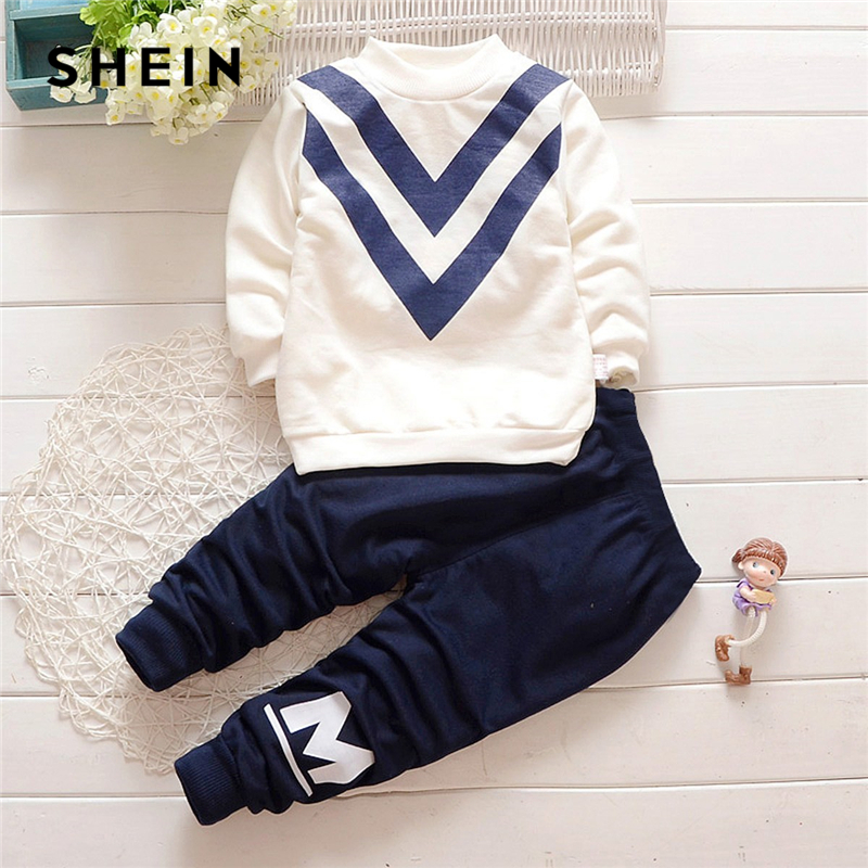 SHEIN Kiddie Toddler Boys Letter Print Sweatshirt With Pants Two Piece Set 2019 Spring Long Sleeve Casual Children Boys Suit Set feather print sweatshirt