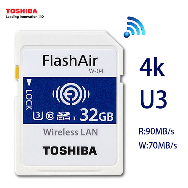 US $29 86 19% OFF|TOSHIBA Flash Air W 04 Memory Card 32GB 16GB wifi SD Card  90MB/s Wireless SDHC Memory Card Tarjeta sd WIFI Carte SD For Camera-in