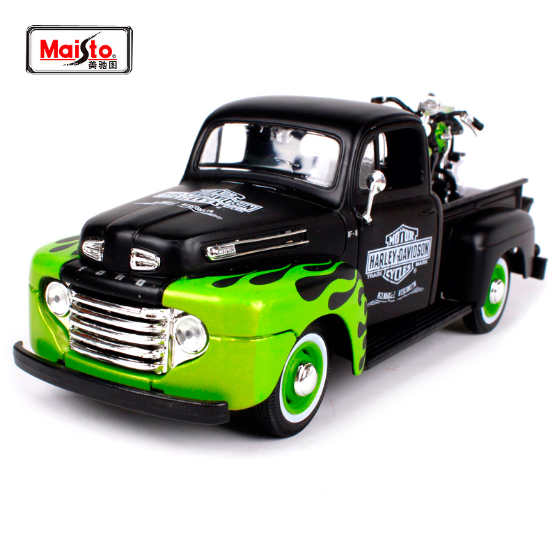 Maisto 1:24 Ford 1948 FORD F-1 PICKUP With 1948 Harley FL PANHEAD Motorcycle Bike Diecast Model Car Toy New In Box Free ShippingMaisto 1:24 Ford 1948 FORD F-1 PICKUP With 1948 Harley FL PANHEAD Motorcycle Bike Diecast Model Car Toy New In Box Free Shipping