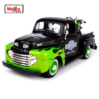 Maisto 1:24 Ford 1948 FORD F 1 PICKUP With 1948 Harley FL PANHEAD Motorcycle Bike Diecast Model Car Toy New In Box Free Shipping