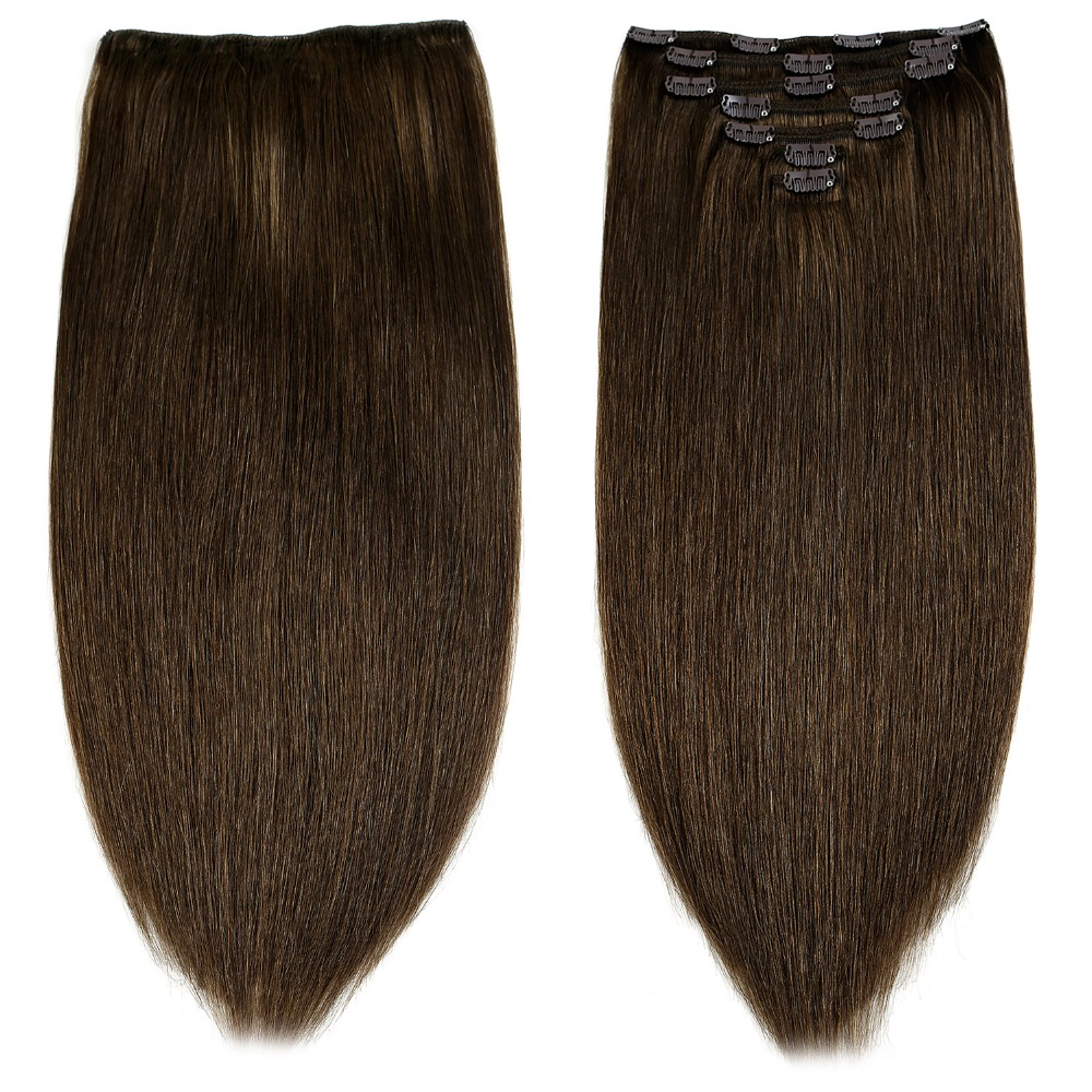 """Neitsi Double Drawn Remy Clip In On Human Hair Extensions 20"""" 24"""" 7pcs 16 Clips 8 Colors Natural Straight Clip Ins Fast Delivery"""