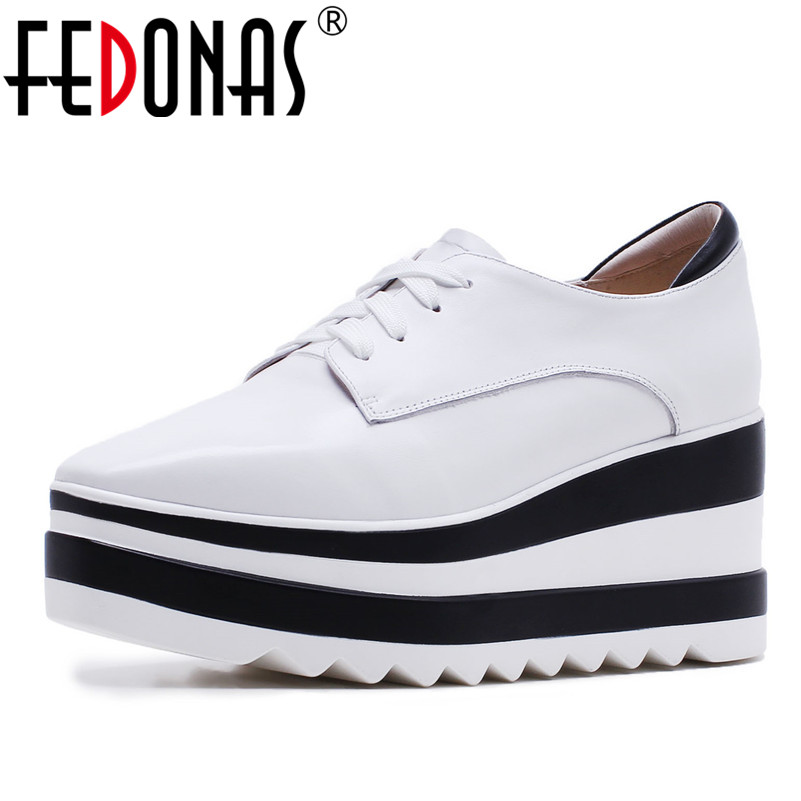 FEDONAS Fashion Women Platforms Flats Shoes Soft Genuine Leather Comfort Lace Up Casual Shoes Woman Party