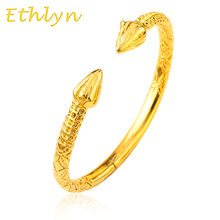 Ethlyn Top Quality Punk Style Men  Dubai Gold Color jewlery bangles for Ethiopian bangle & bracelets Ethiopian jewelry B35