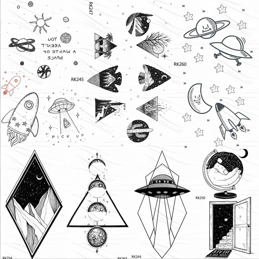 Small Gadgets Universe Galaxy Black Temporary Tattoos For Kids Sticker Fake  Tattoo Spaceship Custom UFO Cute Tatoos For Children
