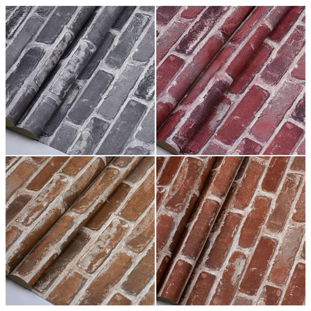 10M*53CM 3D Retro American Countryside Faux Brick Wallpaper Roll Vinyl PVC Stone Wall Paper For Restaurant Cafe Shop Decor