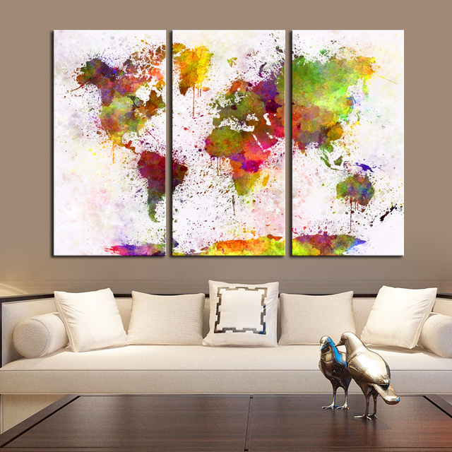 2 designs large world map poster print 3 panels painting colorful 2 designs large world map poster print 3 panels painting colorful map canvas wall decorations living gumiabroncs Images