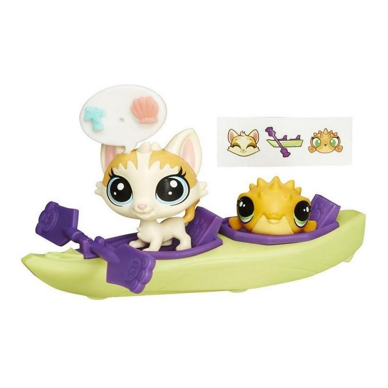 LPS Toy 2pcs Lovely Shop Animals Fish Kayak Kids Action Figures LPS Toys for Children Birthday/Christmas Gift lps new style lps toy bag 32pcs bag little pet shop mini toy animal cat patrulla canina dog action figures kids toys