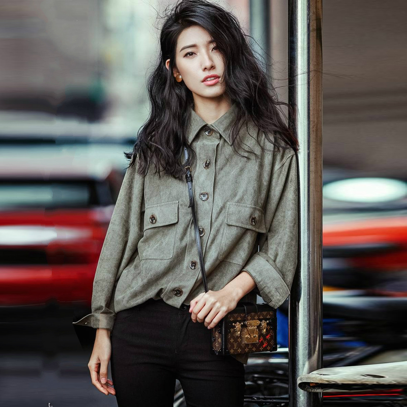LYFZOUS Vintage Sude Blouse Casual Loose Long Sleeve Suit Collar Pocket Dark Green Leather Sude Shirts for Women High Quality