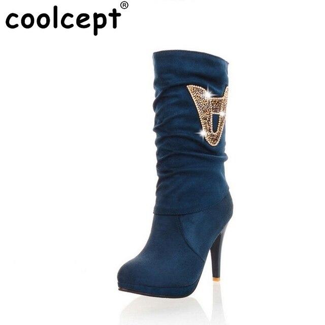 4c5f4585e9 Mulheres sapatos de salto alto metade curto botas sexy botas passarela  outono inverno apliques de moda