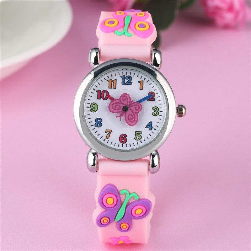 Children Watch 3D Cartoon Pink Butterfly Pattern Wristwatches Pink Purple Rubber Band Girls Watches Kids Orologio Bambino