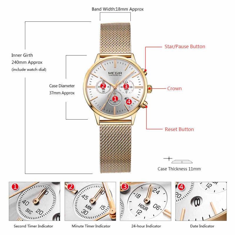 Megir Women's Chronograph Luminous Hands วันที่ตัวบ่งชี้สายสแตนเลสตาข่ายนาฬิกาข้อมือควอตซ์ Lady Rose Gold M2011L-1