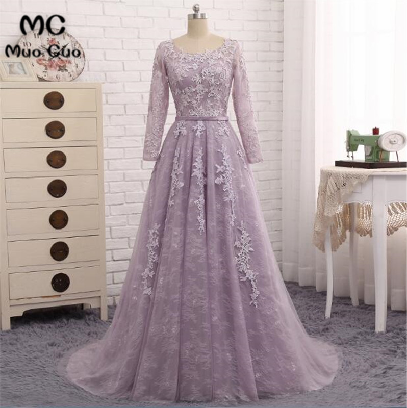 2018 Long Sleeves   Prom     dresses   Long Draped Tulle Women's   dress   for graduation Puffy Light Purple Lace Long Formal Party Gowns